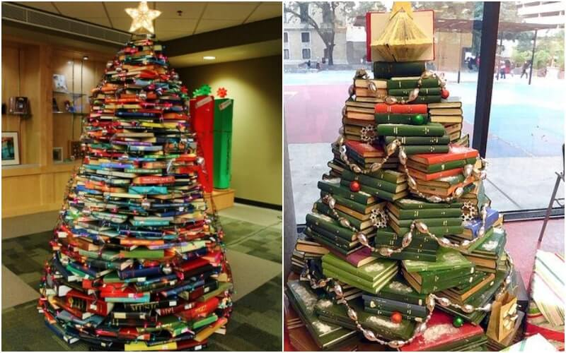 14 árvores de Natal feitas só de livros
