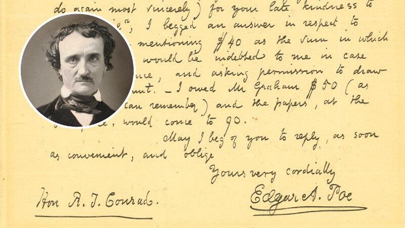 No fim da vida, Edgar Allan Poe implorou para vender seu trabalho
